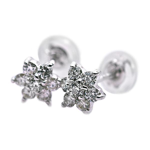 ダイヤモンド ピアス 0.3ct K18 ホワイトゴールド 0.3カラット 花 フラワーモチーフ ピアス 鑑別カード付き 白