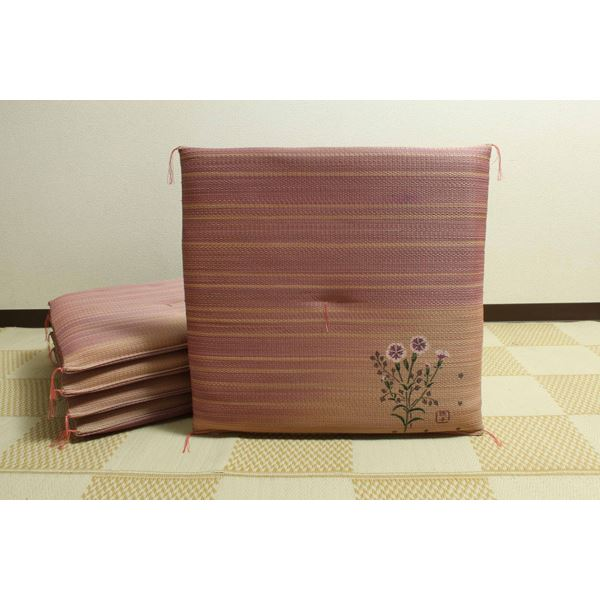 純国産/日本製 捺染返し い草座布団 『撫子(なでしこ) 5枚組』 約55×55cm×5P