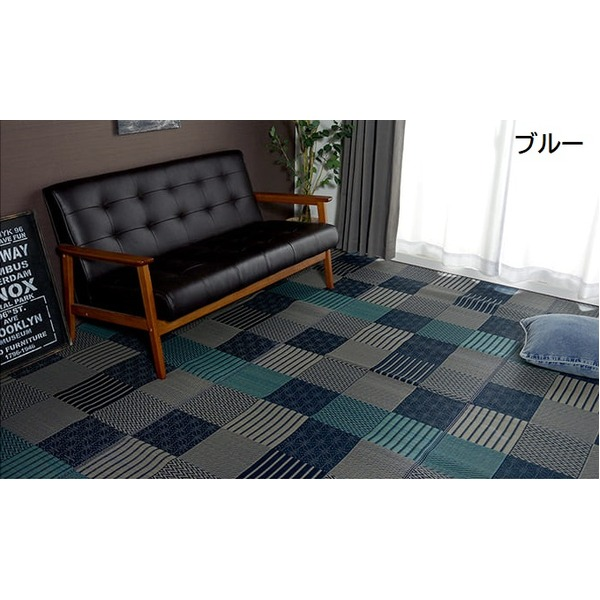 純国産 日本製 い草 藺草 花ござカーペット 『京刺子』 ブルー 江戸間6畳(約261×352cm) 青