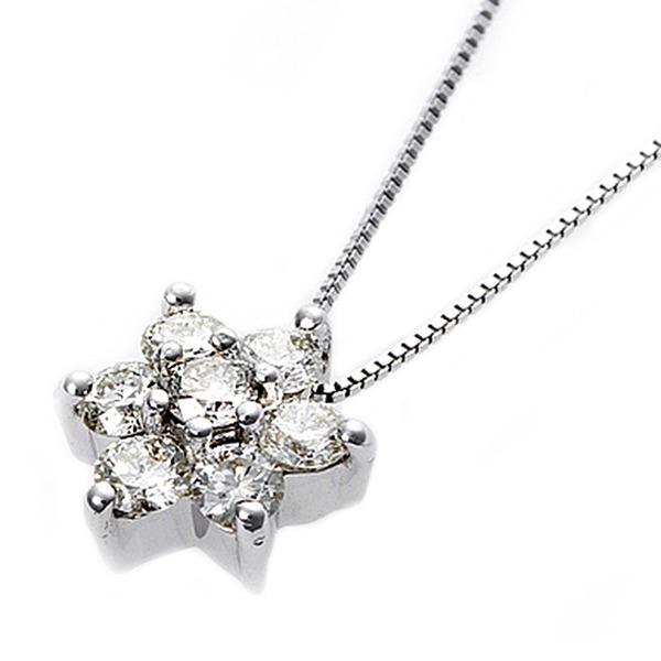 ダイヤモンド ネックレス 0.3ct K18 ホワイトゴールド 0.3カラット 花 フラワーモチーフ ペンダント 鑑別カード付き 白