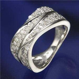 0.6ctダイヤリング 指輪 ワイドパヴェリング 17号