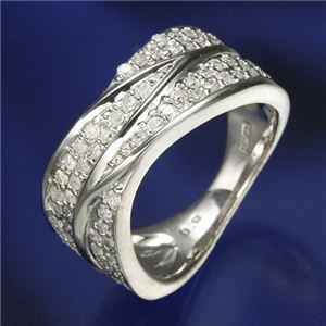 0.6ctダイヤリング 指輪 ワイドパヴェリング 19号