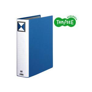 (まとめ)TANOSEE 両開きパイプ式ファイル A4タテ 60mmとじ 青 30冊