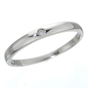 K18 ワンスターダイヤリング 指輪 K18ホワイトゴールド(WG)17号 白