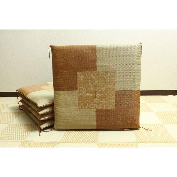 純国産/日本製 捺染返し い草座布団 『草美(くさび) 5枚組』 ブラウン 約55×55cm×5P