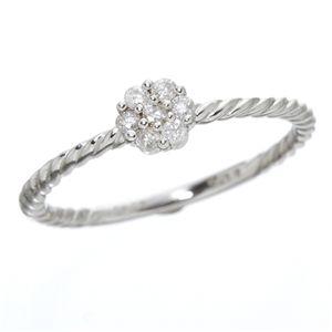 K14ホワイトゴールド ダイヤリング 指輪 17号 白