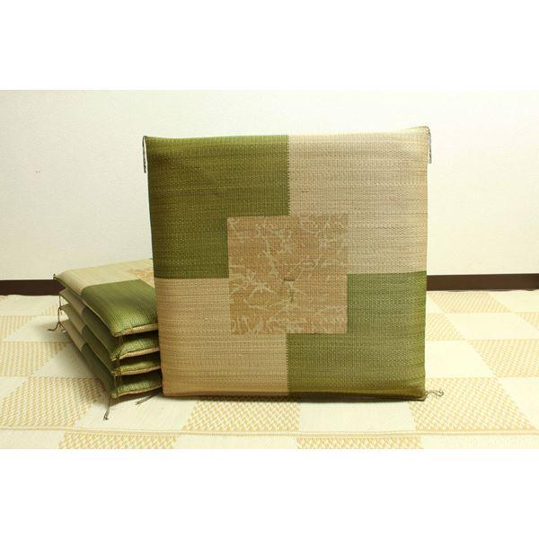 【日本製】【送料無料】日本製 捺染返し い草座布団 『草美(くさび) 5枚組』 グリーン 約55×55cm×5P( グリーン 緑 )