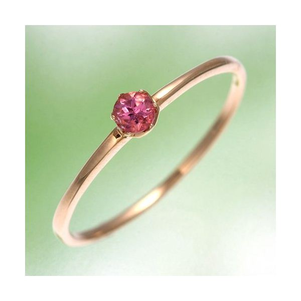 K18YG(イエローゴールド) ピンクトルマリンリング 指輪 15号 黄