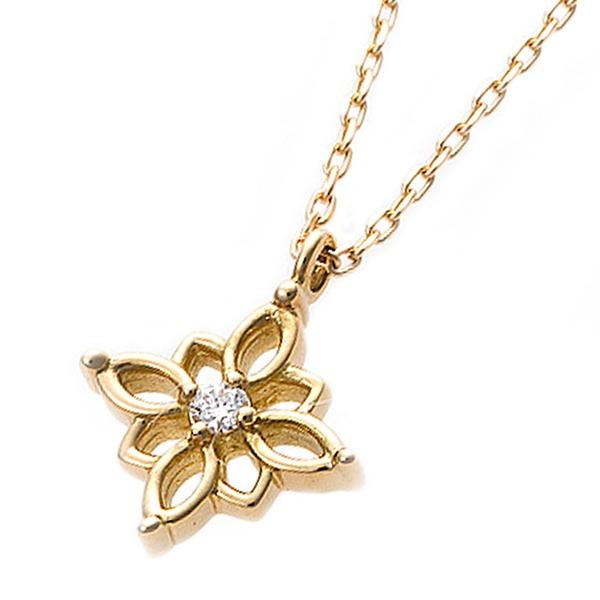 ダイヤモンド ネックレス 一粒 0.014ct K18 イエローゴールド 花 フラワーモチーフ ペンダント 鑑別カード付き 黄