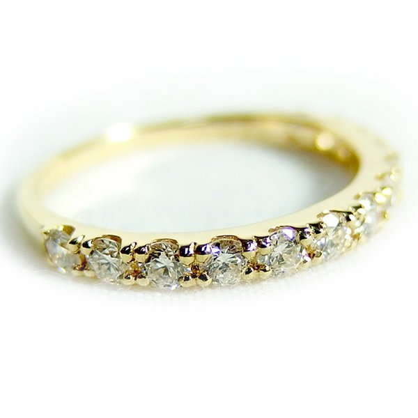 ダイヤモンド リング ハーフエタニティ 0.5ct K18 イエローゴールド 8号 0.5カラット エタニティリング 指輪 鑑別カード付き