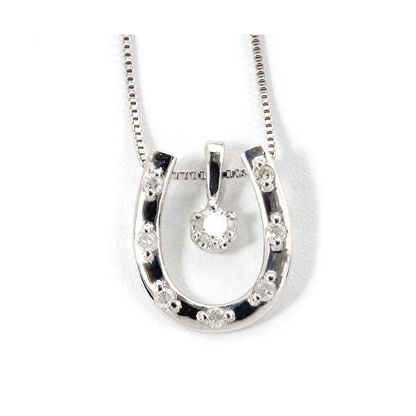 K18ホワイトゴールド 天然ダイヤネックレス 馬蹄型 ダイヤモンドペンダント/ネックレス0.1CT 白