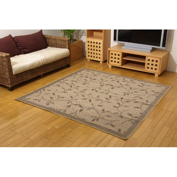 麻混カーペット 絨毯 『プラード』 ブラウン 江戸間4.5畳 261×261cm 正方形 茶
