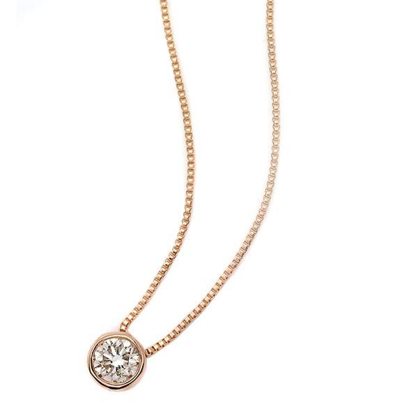 ダイヤモンド ネックレス 一粒 0.1ct K18 ピンクゴールド Nudie Heart(ヌーディーハート) 人気の覆輪留 ペンダント