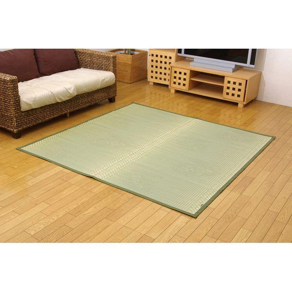 【送料無料】日本製 イ草花ござカーペット 『扇』 江戸間6畳(約261×352cm)