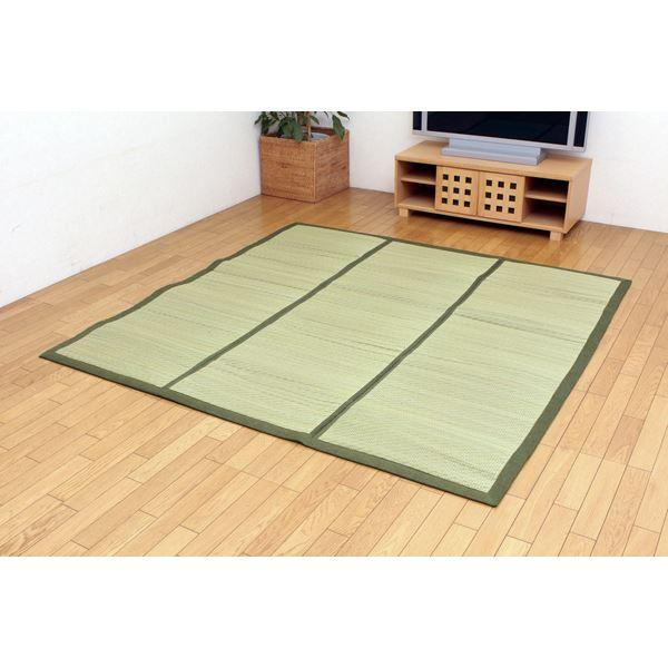 【送料無料】チップウレタン8mm入り い草ラグカーペット 『FCラサ』 グリーン 約200×200cm 正方形( グリーン 緑 )
