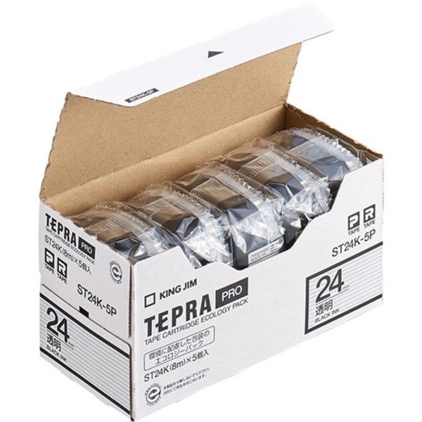 キングジム テプラ PRO テープカートリッジ 24mm 透明/黒文字 ST24K-5P 1パック(5個)