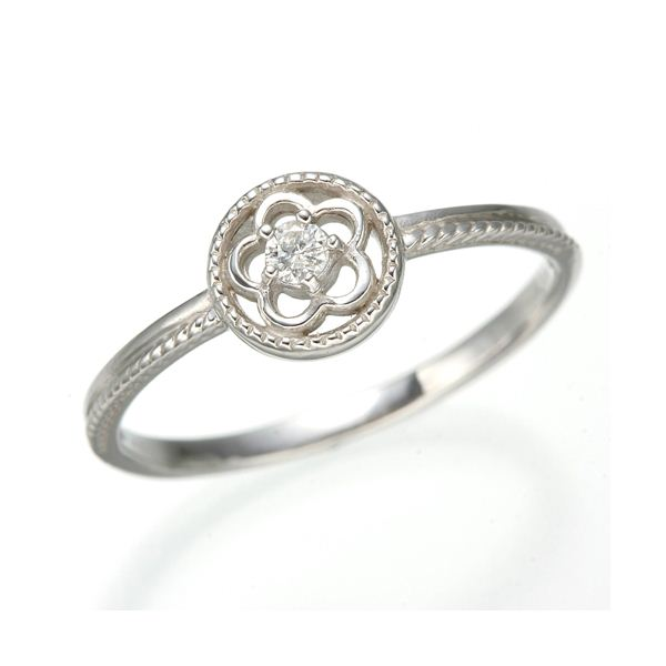 K10 ホワイトゴールド ダイヤリング 指輪 スプリングリング 184285 15号 白