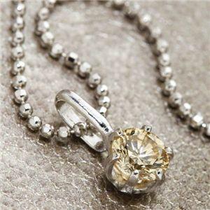 K18WG 0.3ctライトブラウンダイヤモンド一粒ネックレス(18金ホワイトゴールド)156586 42cm 白 茶