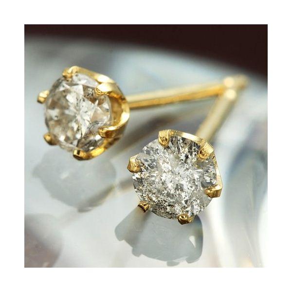 K18イエローゴールド ダイヤモンドピアス0.3ct 黄