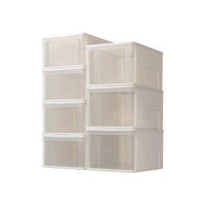 (まとめ)たっぷり整理 収納 ケース55M ホワイト/クリア 幅400×奥550×高250mm 4個セット 白