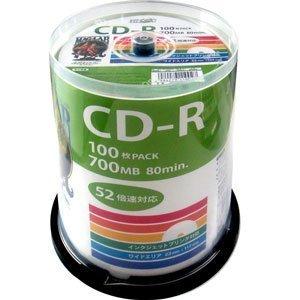 デ‐タ用CD-Rメディア52倍速 レーベル ワイドタイプ プリンタブル白100枚スピンドル 【5個セット】 HDCR80GP100-5P