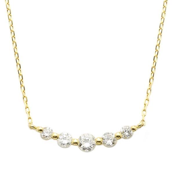ダイヤモンド ネックレス K18 イエローゴールド 0.3ct 5粒 5ストーン ダイヤネックレス 0.3カラット ペンダント 黄