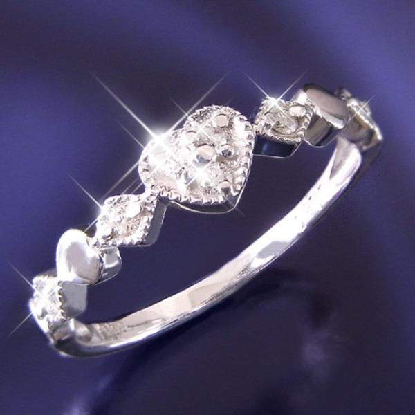 ハートダイヤリング 指輪 セブンストーンリング 7号