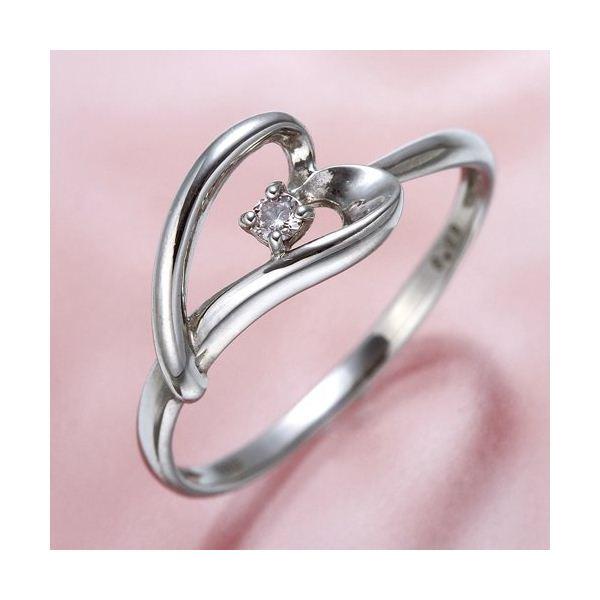 ピンクダイヤリング 指輪 ハーフハートリング 11号
