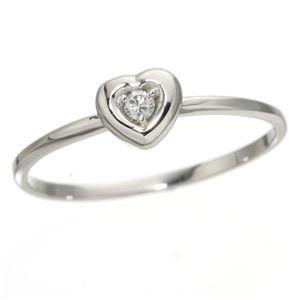 K10ハートダイヤリング 指輪 ホワイトゴールド 17号 白