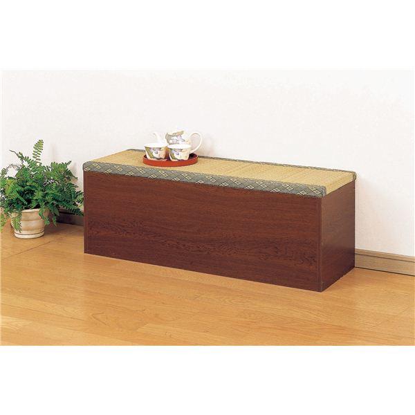 整理 収納付き 畳ベンチ/スツール イス バーチェア 椅子 カウンターチェア 【幅90cm】 ブラウン 【組立】 茶