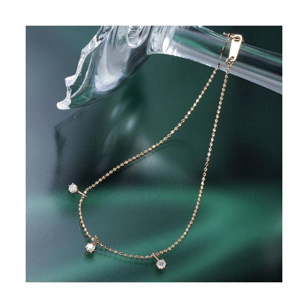 K10ピンクゴールド0.15ct トリプルダイヤモンドブレスレット