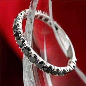 K18WG 1ctブラックダイヤリング 指輪 エタニティリング 15号 黒