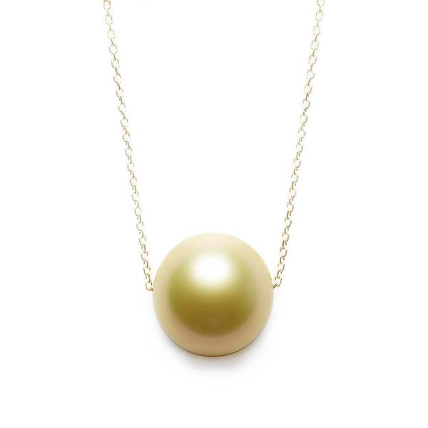ゴールド パール ネックレス K18 イエローゴールド 奄美大島産 白蝶貝 11mm パールネックレス 真珠 ペンダント 黄