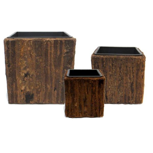 室内用植木鉢カバー 【ブラウン スクエア型】 3サイズ×1組 インナーポット付 『タック』 〔園芸 ガーデニング用品〕