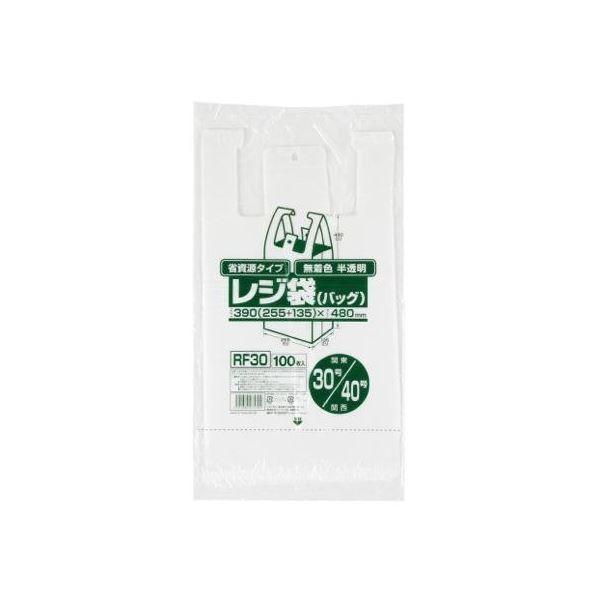 省資源レジ袋東30西40号100枚入HD半透明RF30 【(30袋×5ケース)合計150袋セット】 38-391