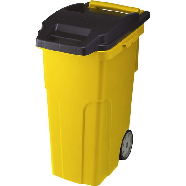 可動式 ゴミ箱/キャスターペール 【45C4 4輪】 イエロー フタ付き 〔家庭用品 掃除用品〕【代引不可】