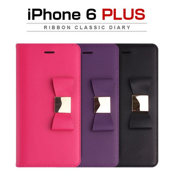 Layblock iPhone 6 Plus Ribbon Classic Diary ブラック 黒