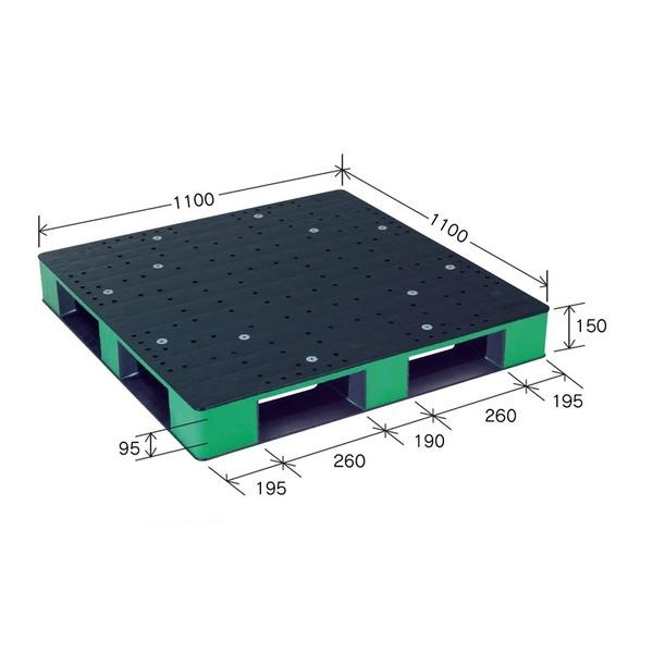 カラープラスチックパレット/物流資材 【1100×1100mm ブラック/グリーン】 片面使用 HB-D4・1111SC 岐阜プラスチック工業【代引不可】