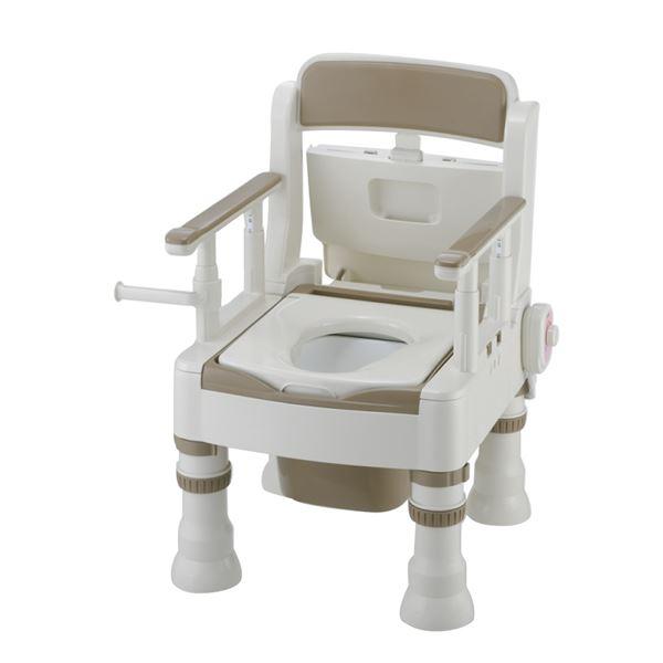 リッチェル 樹脂製ポータブルトイレ ポータブルトイレきらくミニでか(5)MH型アイボリー 45621 乳白色