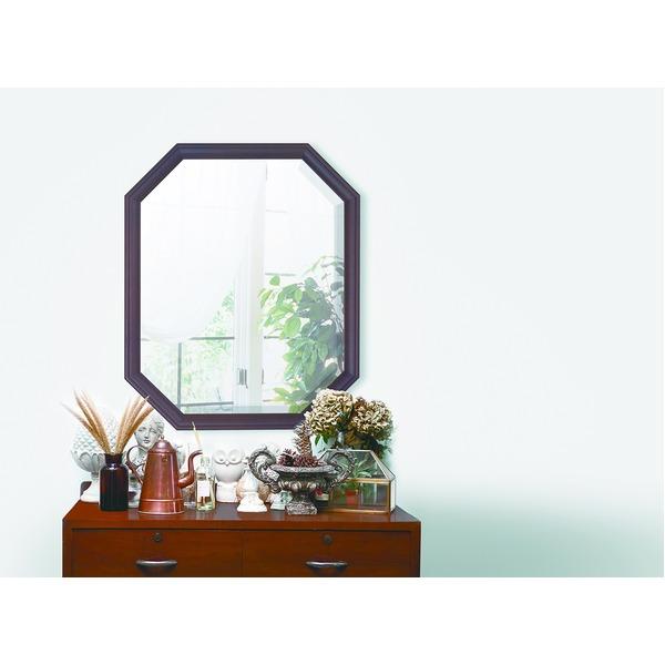 八角型 ウォールミラー/壁掛け鏡 【幅45cm×奥行2.5cm×高さ55cm】 ダークブラウン 飛散防止加工 茶
