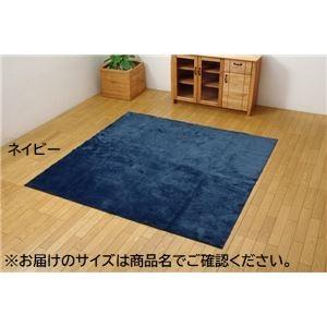 ラグ カーペット 3畳 洗える ウォッシャブル 無地 『イーズ』 ネイビー 約220×220cm 裏:すべりにくい加工 (ホットカーペット対応)