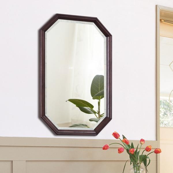 八角型 ウォールミラー/壁掛け鏡 【幅45cm×奥行2.5cm×高さ70cm】 ダークブラウン 飛散防止加工【代引不可】