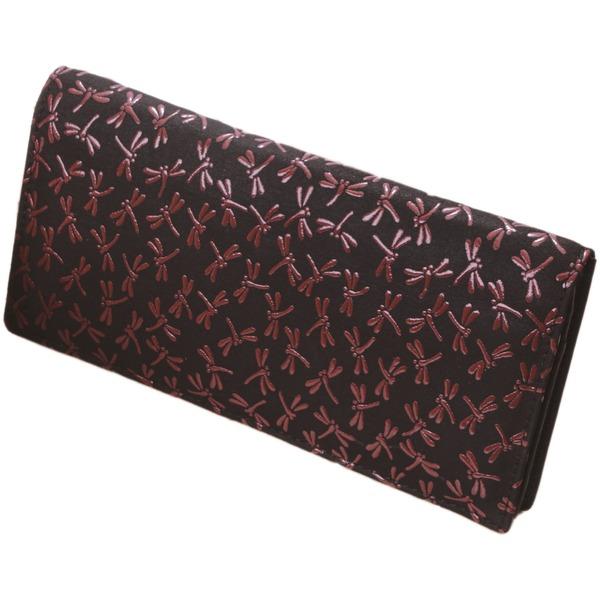 鹿革印傳本漆(トンボ柄)長財布 (ブラック×レッド) 黒 赤