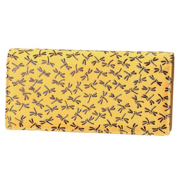 鹿革印傳本漆(トンボ柄)長財布 (イエロー× ブラック) 黒 黄