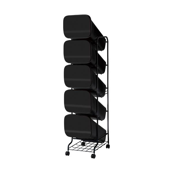 スタンド式 ダストボックス/ゴミ箱 【ブラック 19L×5段】 高さ147cm キャスター付き 『スムース』【代引不可】