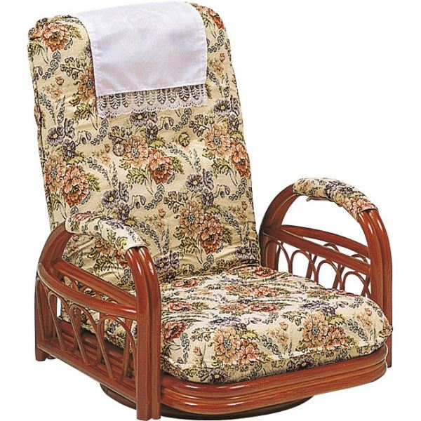 リクライニングチェア/360度回転座椅子 【座面高20cm】 木製(籐) 肘付き【代引不可】