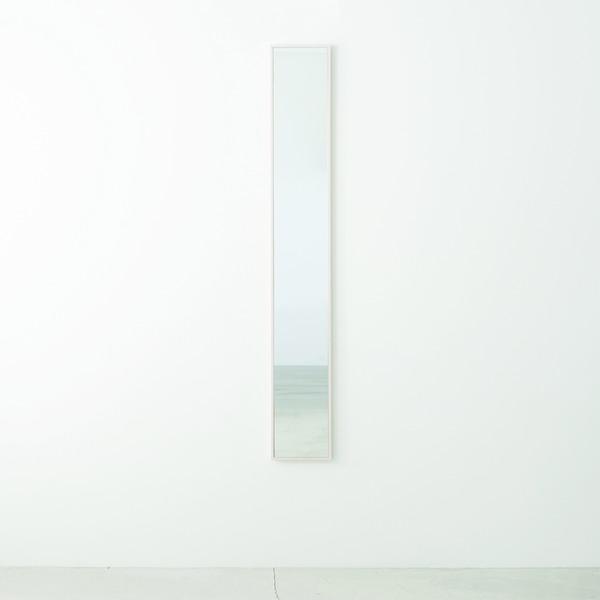 細枠ウォールミラー 幅22cm(ホワイト/白) 天然木 /姿見鏡/スリム/高級感/木製/飛散防止加工/壁掛け/北欧風/日本製 国産 /完成品/NK-5 白