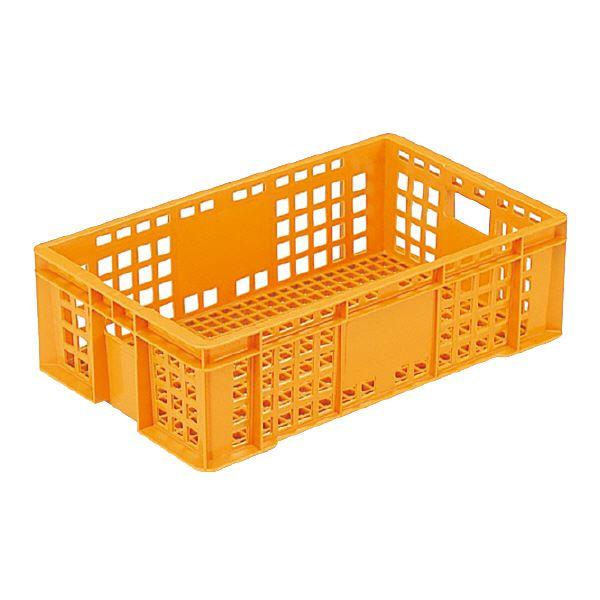 (業務用10個セット)三甲(サンコー) 全面網目コンテナボックス/サンテナー スタッキング可 B 27Z オレンジ