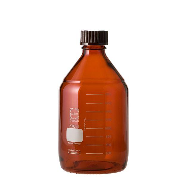 【柴田科学】ねじ口びん(メジュームびん) 茶褐色 赤キャップ付 2L 017210-20001