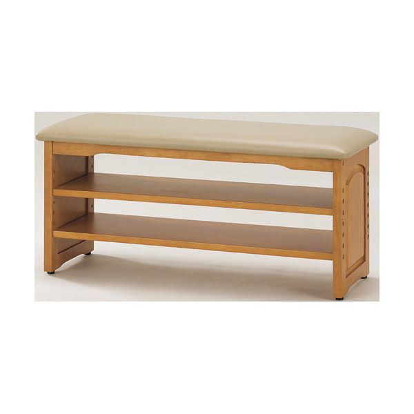整理 収納付き 玄関ベンチ/腰掛け椅子 (イス チェア) 【幅90cm】 木製 クッション座面 ガタつき防止付き